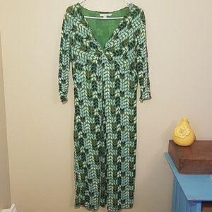 Boden Leaf print knit dress SIZE 6L